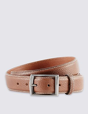 Leather Double Keeper Edge Stitched Belt, TAN, catlanding