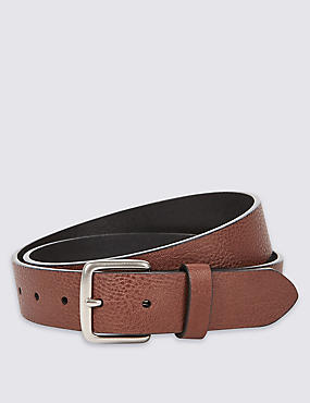 Leather Lined Grain Belt, BROWN, catlanding