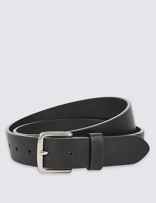 Tumbled Grain Casual Belt, BLACK, catlanding