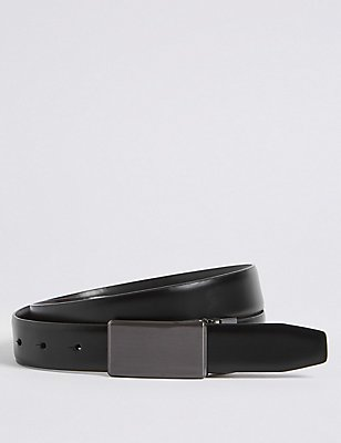 Plaque Reversible Belt, BLACK/BROWN, catlanding