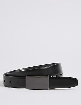Plaque Reversible Belt, BLACK/BROWN, catlanding