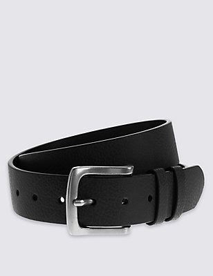 4cm Tumbled Grain Casual Belt, BLACK, catlanding
