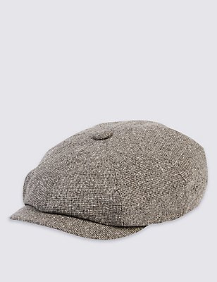 Pure Silk Baker Boy Summer Hat, GREY, catlanding