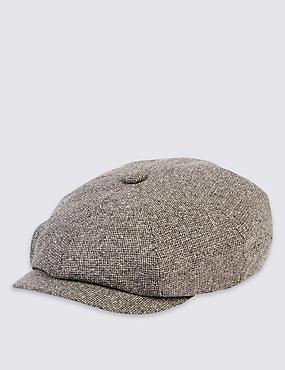 Pure Silk Baker Boy Hat, GREY, catlanding