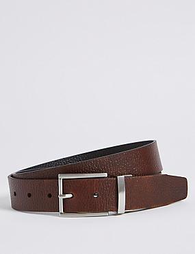 Leather Grain Block Reversible Belt, BLACK/BROWN, catlanding