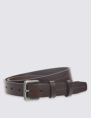 3cm Double Keeper Leather Belt, BROWN, catlanding