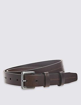 3cm Double Keeper Leather Belt, BROWN, catlanding
