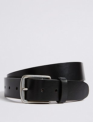 Saddle Edge Leather Belt, BLACK, catlanding