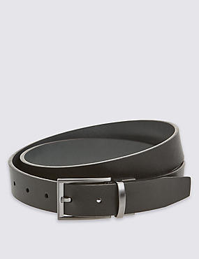 Textured Leather Reversible Belt, BLACK/GREY, catlanding