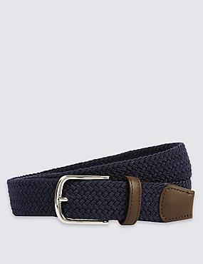 Cinturón con pespuntes con diseño trenzado, MARINO, catlanding