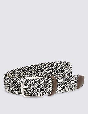 Cinturón con pespuntes con diseño trenzado, MARINO/BLANCO, catlanding
