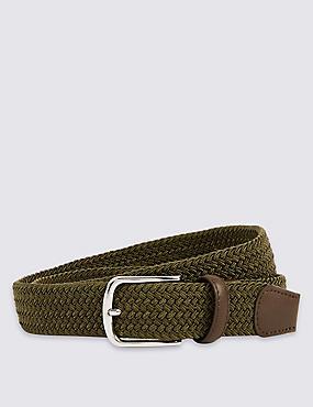 Cinturón con pespuntes con diseño trenzado, CAQUI, catlanding