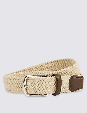 Cinturón con pespuntes con diseño trenzado, PIEDRA, catlanding