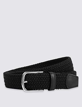 Cinturón con pespuntes con diseño trenzado, NEGRO, catlanding
