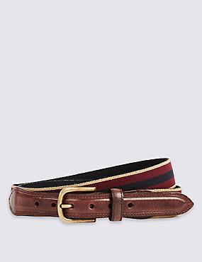 Stretch Woven  Belt, BURGUNDY MIX, catlanding