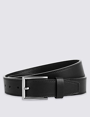 Twin Stitch Faux Leather Belt, BLACK, catlanding