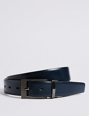 Leather Buckle Reversible Belt, NAVY MIX, catlanding