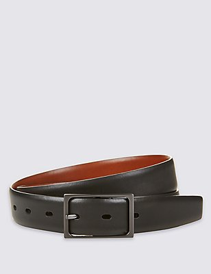 Leather Centre Bar Reversible Belt, BLACK MIX, catlanding