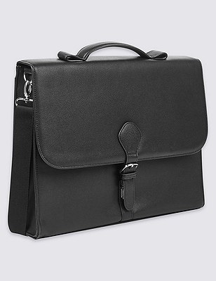 Faux Leather Briefcase, BLACK, catlanding
