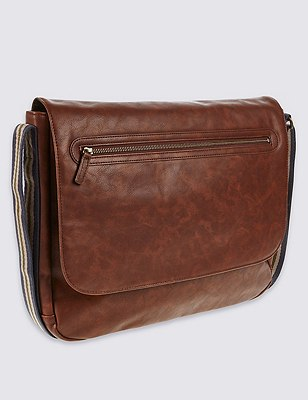 Faux Leather Messenger Bag, BROWN, catlanding