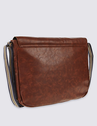 Faux Leather Messenger Bag | M&S