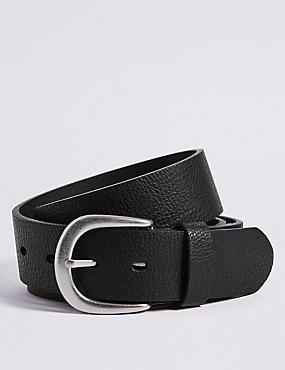 Denim Buckle Belt, BLACK, catlanding