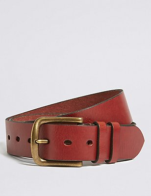 Leather Tumbled Denim Belt, TAN, catlanding
