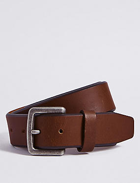 Bevelled Edge Leather Buckle Belt, TAN, catlanding
