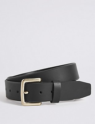 Bevelled Edge Leather Buckle Belt, BLACK, catlanding