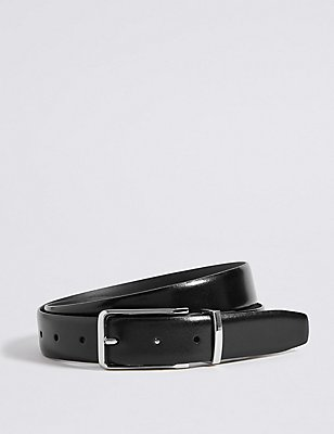 High Shine Leather Buckle Belt, BLACK, catlanding