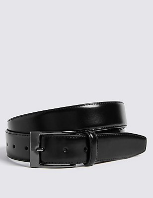 Coated Leather Active Waistband Belt, BLACK, catlanding