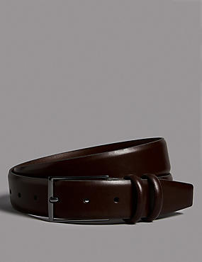 Leather Rectangular Buckle Belt, BROWN, catlanding