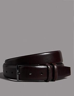 Leather Rectangular Buckle Belt, OXBLOOD, catlanding