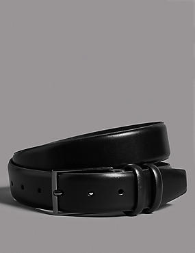 Leather Rectangular Buckle Belt, BLACK, catlanding