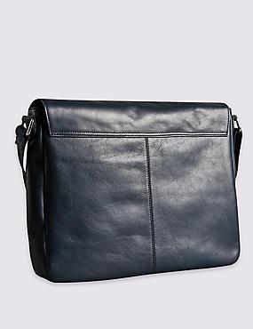 Leather Dispatch Messenger Bag, NAVY, catlanding