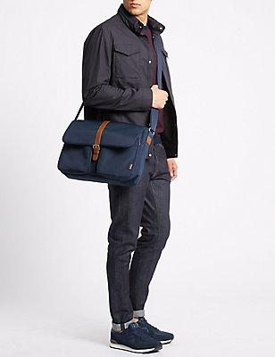 Scuff Resistant Cordura® Messenger Bag, NAVY, catlanding