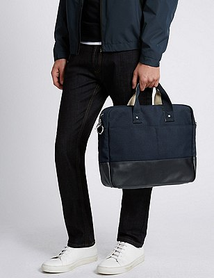 Canvas Twill Laptop Bag, NAVY, catlanding