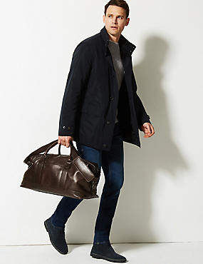Casual Leather Holdall , BROWN, catlanding