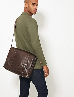 Casual Leather Messenger Bag, BROWN, catlanding