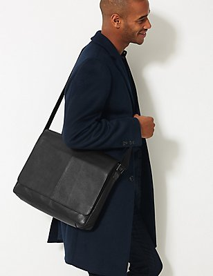 Pebble Grain Leather Messenger, BLACK, catlanding