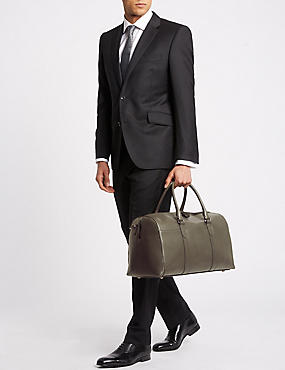 Pebble Grain Leather Holdall, GREY, catlanding