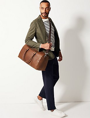 Pebble Grain Leather Holdall, TAN, catlanding