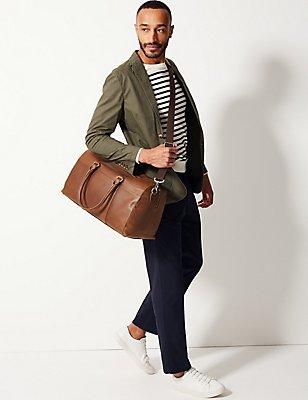 Reisetasche aus Leder mit grober Maserung, TAN, catlanding