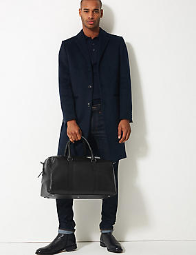 Pebble Grain Leather Holdall, BLACK, catlanding
