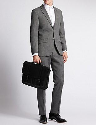 Smooth Faux Leather Briefcase, BLACK, catlanding