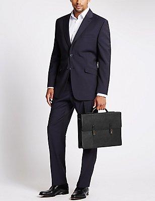 Pebble Grain Leather Briefcase, BLACK, catlanding