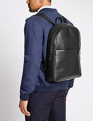 Pebble Grain Leather Rucksack, BLACK, catlanding