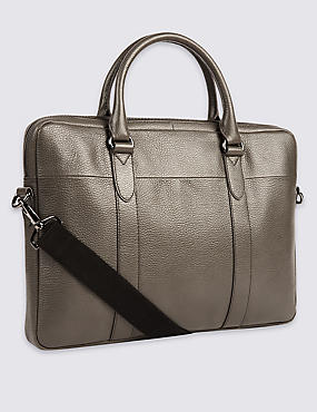 Pebble Grain Leather Briefcase, GREY, catlanding