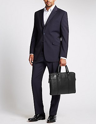 Pebble Grain Leather Briefcase, BLACK, catlanding