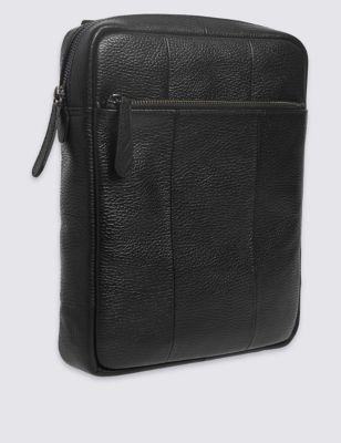 Мужская сумка через плечо из мелкозернистой натуральной кожи